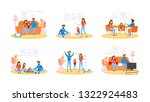 couple on different activity... | Shutterstock .eps vector #1322924483
