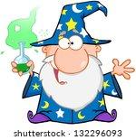 crazy wizard holding a green... | Shutterstock .eps vector #132296093