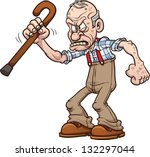 grumpy old man. vector clip art ... | Shutterstock .eps vector #132297044
