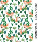 seamless pattern with fox ... | Shutterstock .eps vector #1322970800