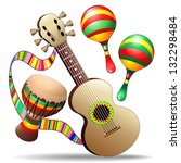 guitar maracas and bongo... | Shutterstock . vector #132298484