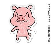 distressed sticker of a nervous ... | Shutterstock .eps vector #1322991323