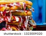 typical serrano or iberian ham...   Shutterstock . vector #1323009320