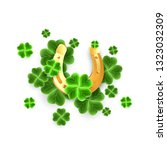 realistic gold horseshoe and... | Shutterstock .eps vector #1323032309