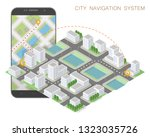 city map route navigation... | Shutterstock .eps vector #1323035726
