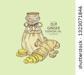 background with ginger and... | Shutterstock .eps vector #1323071846