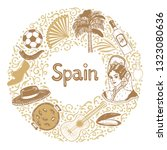 round composition with spanish... | Shutterstock .eps vector #1323080636