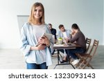 beautiful young business lady... | Shutterstock . vector #1323093143