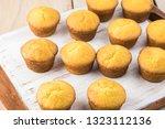 Stock photo mini cornbread muffins on a cutting board 1323112136