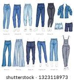 vector denim female pants ... | Shutterstock .eps vector #1323118973