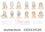 vector woman stages of applying ... | Shutterstock .eps vector #1323119120