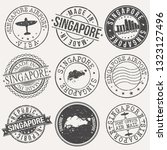 singapore set of stamps. travel ... | Shutterstock .eps vector #1323127496
