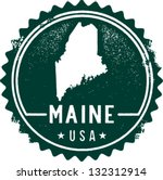 Vintage Maine USA State Stamp - stock vector