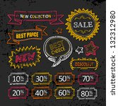 retro discount labels. hand... | Shutterstock .eps vector #132312980