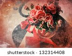 card with begonia flower ... | Shutterstock . vector #132314408