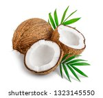 coconut with leaves isolated on ... | Shutterstock . vector #1323145550