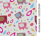 colorful cute elephants pattern | Shutterstock .eps vector #132315434