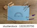 millimeter paper with draw... | Shutterstock . vector #1323155750