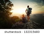hikers with backpacks standing...   Shutterstock . vector #132315683