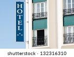 a seaside hotel sign in... | Shutterstock . vector #132316310