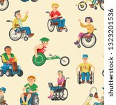 disabled people in wheelchair... | Shutterstock .eps vector #1323201536