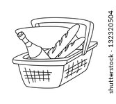 picnic basket with a bottle of... | Shutterstock .eps vector #132320504