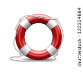 Red life buoy on white background. Vector Illustration.
