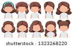 set of faceless brunette girl... | Shutterstock .eps vector #1323268220