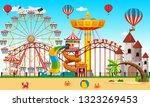 large carnival landscape scene | Shutterstock .eps vector #1323269453