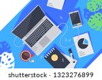 flat desktop top view with... | Shutterstock .eps vector #1323276899