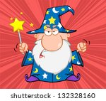 angry wizard with magic wand.... | Shutterstock . vector #132328160