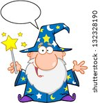 funny wizard waving with magic... | Shutterstock . vector #132328190