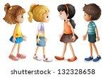 illustration of the four kids... | Shutterstock .eps vector #132328658