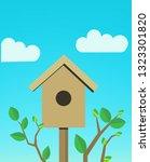 cartoon cute birdhouse. spring...   Shutterstock .eps vector #1323301820