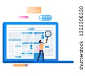 online job search. laptop with... | Shutterstock .eps vector #1323308330