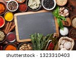set of various spices and herbs ... | Shutterstock . vector #1323310403