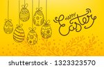 easter eggs 3d and in doodle... | Shutterstock .eps vector #1323323570