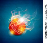 shiny cricket ball in flame on... | Shutterstock .eps vector #132332696