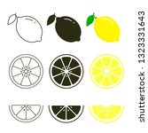 lemon icon set fresh fruits ... | Shutterstock .eps vector #1323331643
