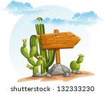 wooden pointer with cactus in... | Shutterstock .eps vector #132333230