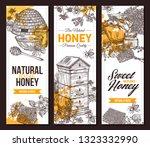 vector hand drawn honey... | Shutterstock .eps vector #1323332990