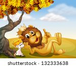 Illustration Of A King Lion An...