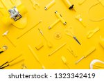 top view of random yellow... | Shutterstock . vector #1323342419