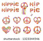 colorful hippie flowers... | Shutterstock . vector #1323344546