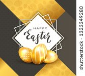 golden easter eggs and square... | Shutterstock . vector #1323349280