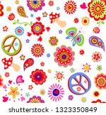 childish wallpaper with hippie... | Shutterstock . vector #1323350849