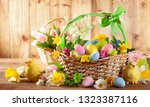 easter composition with spring... | Shutterstock . vector #1323387116