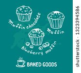 hand drawn muffins set isolated ... | Shutterstock .eps vector #1323394586