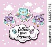 cute funny owls inscription... | Shutterstock .eps vector #1323397796
