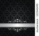 silver banner on black floral... | Shutterstock .eps vector #132340490